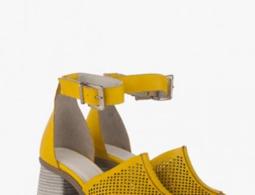 Sandale damă galbene din piele naturală cu toc pătrat și perforații, Stormy MS