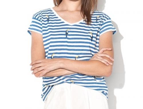 Tricou de damă cu decolteu în V și imprimeu în dungi EDC by Esprit