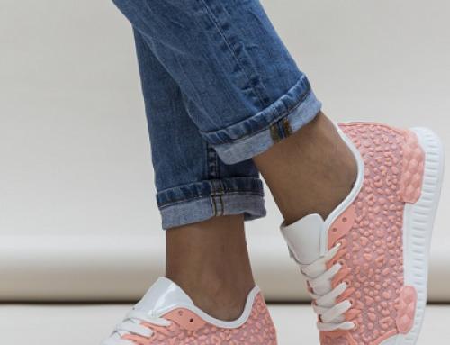 Pantofi sport de damă roz din material textil și piele eco, Barsa Dep