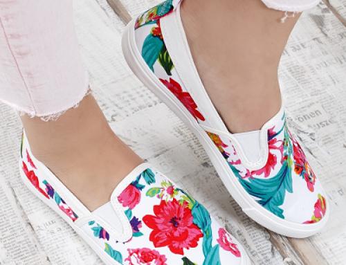 Espadrile de damă albe cu imprimeu floral, talpă joasă, Rossay MDLT