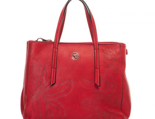 Geantă de damă casual roșie cu perforații decorative Marina Galanti