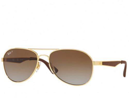 Ochelari de soare bărbați polarizați Aviator, lentile fumurii Ray-Ban RB3549