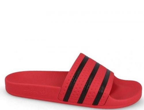 Papuci de plajă roșii cu dungi bărbați Adidas Originals Adilette CQ3098
