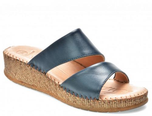 Papuci de damă bleumarin din piele naturală și cu platformă Salamander