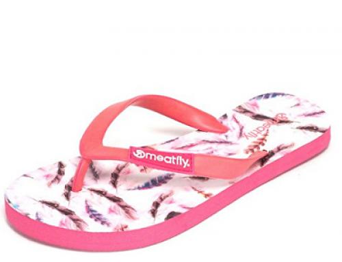 Papuci de damă de plajă ușori, cu imprimeu cu pene, Meatfly JqTrX