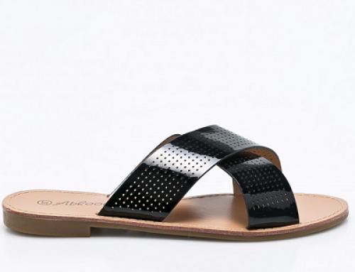 Papuci de damă negri din piele naturală și cu perforații ANSW-SY663k