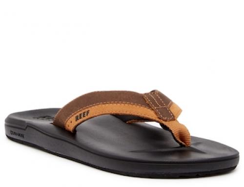 Papuci de plajă maro din piele naturală pentru bărbați Reef Contour