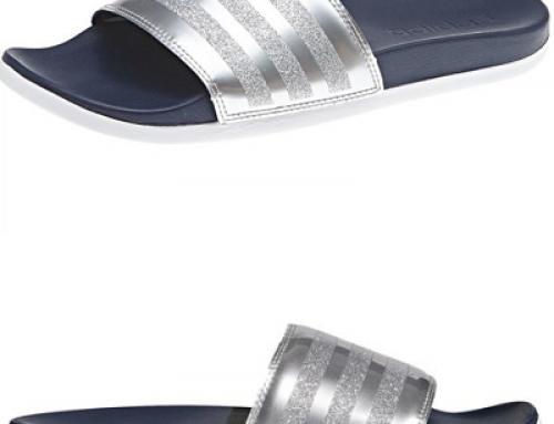 Papuci damă de plajă argintii cu talpă ușoară Adidas Adilette Comfort
