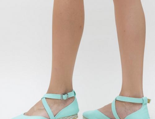 Sandale de damă turcoaz cu talpă plată din material textil Mikes Dep