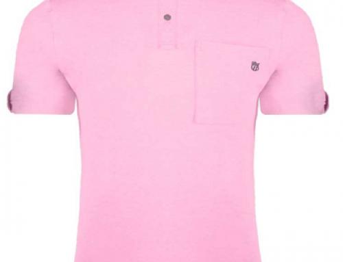 Tricou roz stil polo și slim fit din bumbac pentru bărbați Pink London