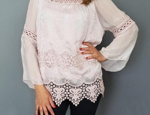 Bluză de damă vaporoasă albă din mătase și cu broderie, Ines 6