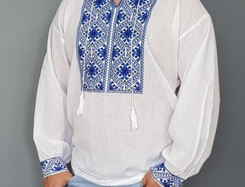 Cămașă albă vaporoasă tip ie din bumbac pentru bărbați Andrey