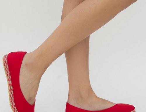 Espadrile de damă roșii cu talpă comodă, material textil, Rodia Dep
