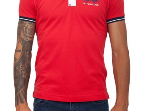 Tricou Polo roșu din bumbac pentru bărbați La Martina 57BAC10E