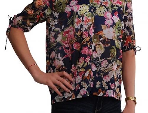 Bluză de damă lejeră și subțire, cu imprimeu floral, Sound Freedom