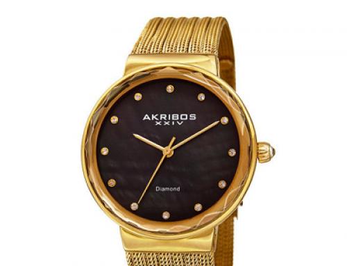Ceas de damă cu brăţară aurie Akribos XXIV AK1009YGB, 3 ATM
