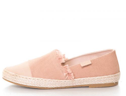 Espadrile damă roz cu talpă plată, material textil și cu franjuri, Gant Krista