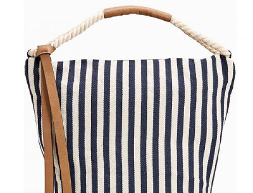 Geantă damă de plajă cu imprimeu în dungi, material textil, Next Kv416