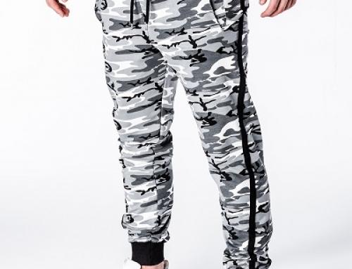 Pantaloni sport cu imprimeu camuflaj și bandă elastică, bărbați, Arthur
