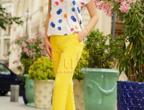 Pantaloni de damă conici galbeni din bumbac, cu talie medie, Zoey INP