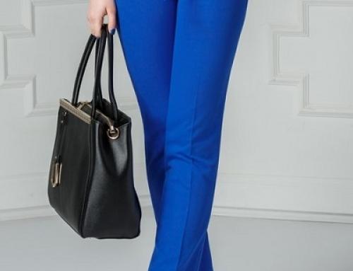 Pantaloni de damă office albaștri cu un cordon în talie, Relinda DyF