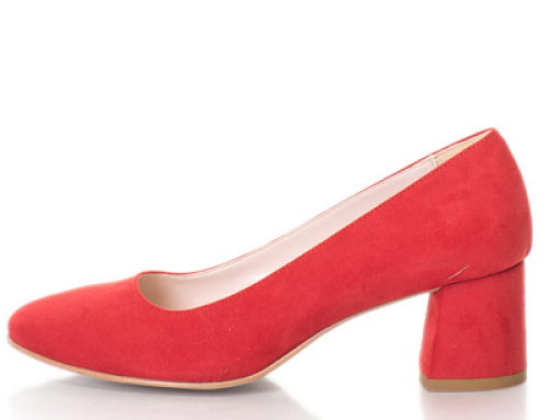 Pantofi de damă office roşii cu toc masiv Zee Lane Collection