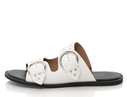 Papuci damă albi cu catarame metalice și talpă plată Call It Spring