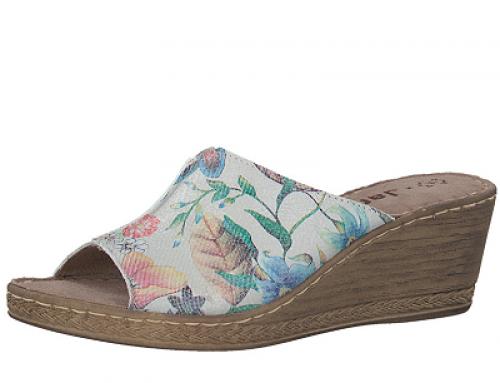 Papuci de damă cu platformă și imprimeu floral Jana White Flower