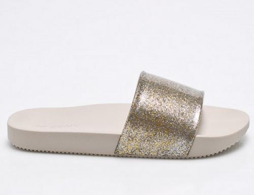 Papuci de damă aurii cu branț profilat și efect strălucitor, Zaxy 2EW