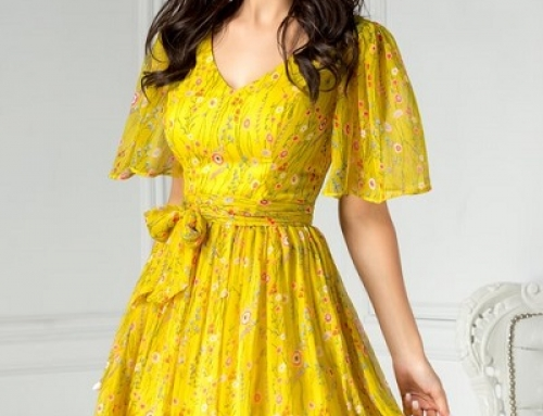 Rochie elegantă galbenă cu imprimeu floral, pliuri și cordon, Leonard DyF