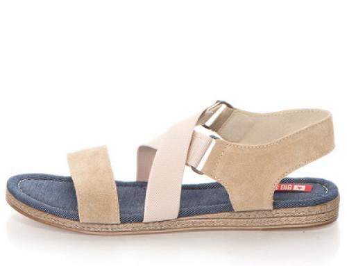 Sandale de damă fără toc și cu talpă plată, cu barete elastice, Big Star
