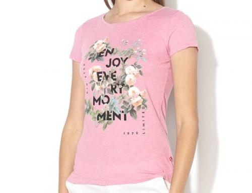 Tricou de damă roz lejer și subțire cu imprimeu floral Big Star Reba