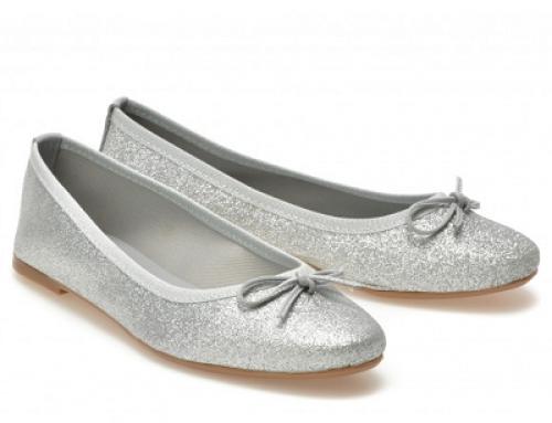Balerini de damă argintii străluciori, cu talpă subțire și toc plat, Image Alix