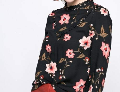 Bluză damă neagră cu imprimeu floral, cu volănașe, Vero Moda Leah