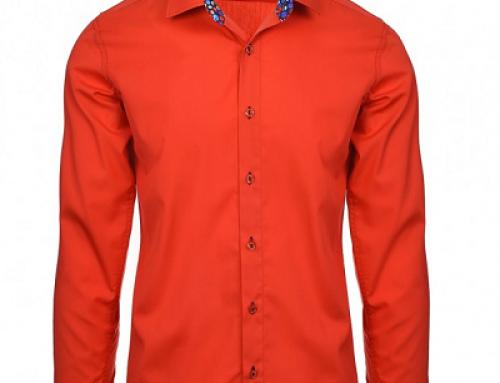 Cămașă casual-smart roșu somon din bumbac pentru bărbați, Andrin MYTH
