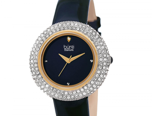 Ceas de damă cu cristale Swarovski, 3 ATM, curea din piele, Burgi
