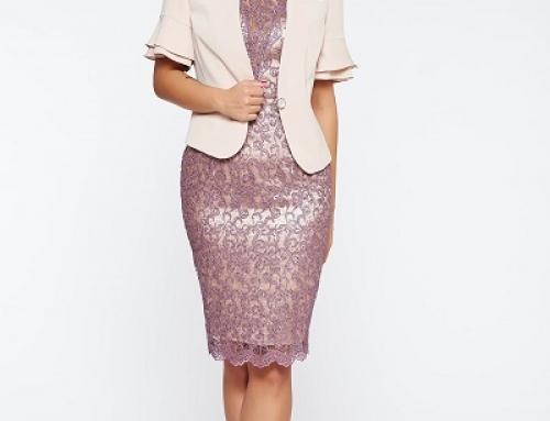 Costum damă de seară lila cu paiete, cu sacou și rochie, Adele STRSH