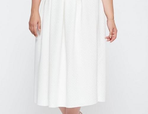 Fustă elegantă albă cu buline mici, talie înaltă și croi cloș, midi, Aletta STSH