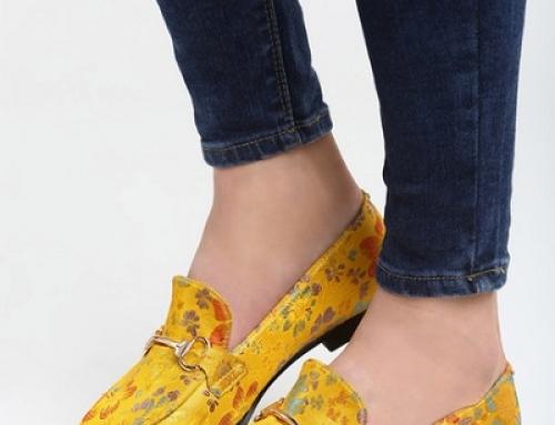 Mocasini damă galbeni cu talpă joasă, imprimeu multicolor, Melva ZTS