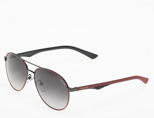 Ochelari de soare Aviator polarizați, lentile gri, bărbați Police SK545