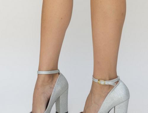Pantofi de damă eleganți argintii cu toc gros și înalt Camos Dep