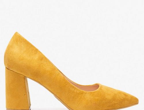 Pantofi damă office galbeni cu vârf ascuțit și toc gros, Answear Bellucci