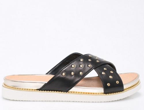 Papuci damă negri din piele naturală și cu aplicații metalice aurii, Badura