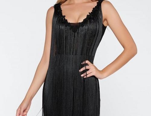 Rochie de seară neagră cu dantelă și franjuri, tip creion, La Donna