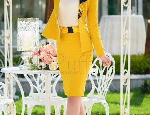 Sacou damă elegant galben muștar, cambrat, volan imprimat, Grace MBG