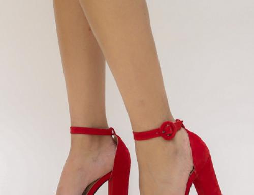 Sandale de damă elegante roșii cu toc gros și înalt de 9 cm, Bigal Dep