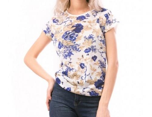 Tricou de damă casual alb din bumbac și cu print floral, Letty WF
