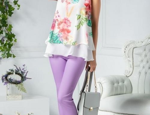 Pantaloni damă office conici cu talie înaltă, lila, cu cleme, Azalia Nicola