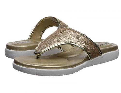 Papuci de damă aurii cu talpă plată și ușoară Soft Style Loralei