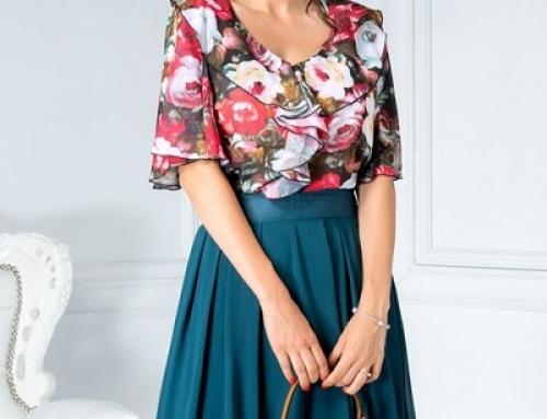Bluză damă office din voal și cu model floral, mâneci evazate, Salome DyF
